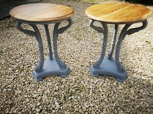 SOLID MAHOGANY CARVED WOOD SIDE TABLES WITH SWAN DETAIL IN PLUMMET FARROW &BALL