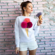 Women 3D ice cream Sweater Pullover Hoodie Sweatshirt Jumper Long Sleeve Xmas JO