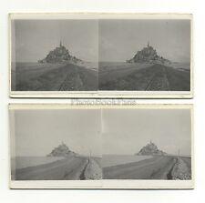 Mont-Saint-Michel 2 Photos amateur stéréo Vintage argentique juillet 1932