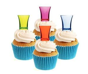 Novelty Shot Glasses Mix 12 Edible Stand Up wafer paper cake toppers party drink