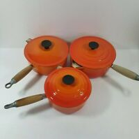 LE CREUSET VOLCANIC ORANGE CAST IRON PAN SET (3 PANS C/W LIDS) - FREE DELIVERY