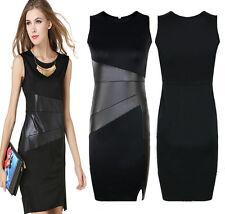 New Sexy Women's Black Leather Bodycon Stretch Party Evening Slim Pencil Dress