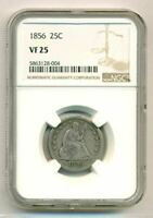 1856 Seated Liberty Quarter VF25 NGC