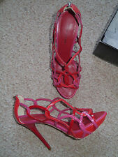 Karen Millen Red Pink Orange Strappy Leather Platform Sandals Shoes 38/5