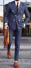 Hombre Azul Rayas Trajes de Diseño Boda Novios Cena Trajes (Abrigo+Pantalones)