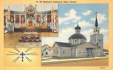 ST. MICHAEL'S CATHEDRAL CHURCH SITKA ALASKA POSTCARD (c. 1940s)