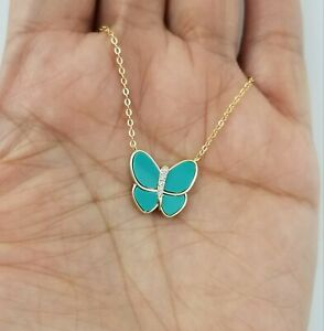 14K  Yellow Gold Over Sterling Silver Blue Turquoise Butterfly Pendant Necklace