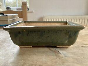 Rectangle Glazed Ceramic Bonsai Pot - green