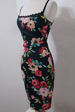 KAREN MILLEN Black Floral Print Bias Cut Peek-A-Boo Crochet Trim Pin Up Dress 4