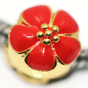 Red Flower Bead Charms Spacer Gold Fit Eupropean Chain Bracelet Making Jewelry