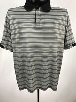 GB Tech Geoffrey Beene mens shirt golf casual polo 1/4 zipper black stripe s/s L