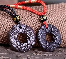 Natural Obsidian Black Jade Agate lucky Pendant twins Chinese Dragon Pixiu A13