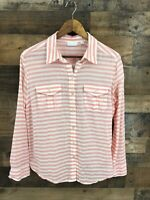 New York & Company Women's Pink & White Stripe Tab Sleeve Button Up Shirt Size L