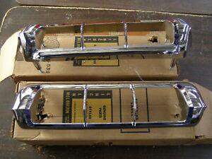 NOS OEM Ford 1960 Lincoln Premiere Tail Light Lamp Bezels Chrome Trim Pair