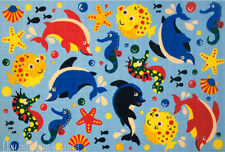 "3x5  Rug  Fish Sea World  Ocean Creatures Dolphin Seahorse  Kids 3'3""x4'10"" New"