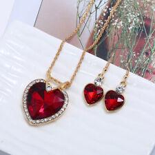 Red Rhinestones Love Heart Pendant Gold Necklace Earrings Set Costume Jewellery