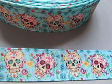 Blue Sugarskull Grosgrain Ribbon 2.2cm  x 1 Metre  Sewing/Costume/Crafts/Cake