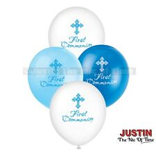 "Unique Party 43831 - 12"" Latex Radiant Cross Blue First Communion Balloons Pac"