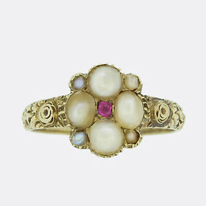 Gold Ruby Ring - Georgian Pearl and Ruby Cluster Ring 15ct Yellow Gold