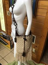 dolce & gabbana Woven Knit Fringe Horn Crossbody Brown Runway Bag
