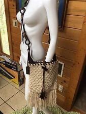 dolce & gabbana Woven Knit Fringe Horn Crossbody Brown Runway Bag