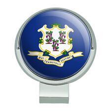Connecticut State Flag Golf Hat Clip With Magnetic Ball Marker