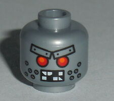 HEAD MF018 Lego Male Alien Robot Red Eyes, Metal Eyebrows Rivets NEW 71004 Wiley