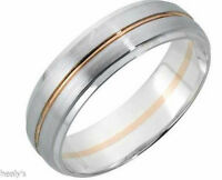 9ct White & Rose Gold Solid 5mm Diamond Cut Wedding Ring Band - Hallmarked