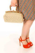 1950 S Tissé Crochet Sac à main en bois & laiton poignée & cadre Rockabilly Rétro