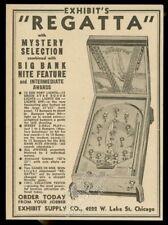 1938 Exhibit Supply Regatta yacht theme pinball machine photo trade print ad