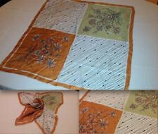 Vtg Original 60s Handmade 100% Pure Silk Green Tan Square Head Neck Scarf.. 23