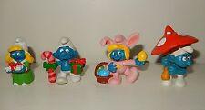 LOT 4 Figurine Schtroumpf Smurf SCHLEICH Noël Pâques Vintage