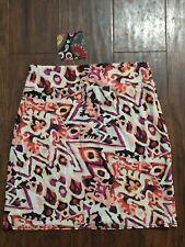 NWT Salaam Womens Skirt Stretch Pencil Bright Abstract Print Multicolor Size XS