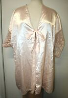Vintage Oversize Plus Size Lady Cameo Soft Peach Deep V Cut Night Gown Robe EUC!