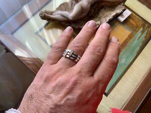 100% AUTHENTIC BARAKA ONE OF A KIND 18K WHITE GOLD & DIAMONDS RING, SZ11, ITALY
