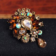Large Vintage Champagne Crystal Rhinestone Brooch Flower Drop Wedding Dress Pin