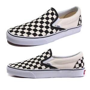 Mens&Womens Van Checkerboard Slip-on Canvas Black Plaid Sneakers Trainers UK3-9