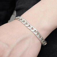 Punk Silver Men's Titanium Steel Chain Link Bracelet Wristband Bangle Jewelry