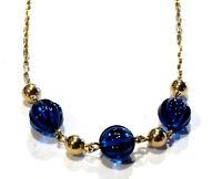 Bijou collier plaqué or 18 carats perles cristal bleu et perles dorées necklace