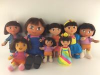 "Dora The Explorer Doll Lot, 8 Dolls, Size 14"" to 6"" high"
