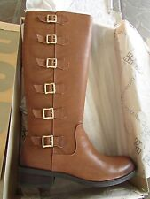 NEW BCBGENERATION COGNAC LEATHER TALL RIDING BOOTS WOMENS 10 GENUINE LEATHER