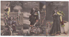 """Set of 3 """"Romeo & Juliette""""  hand colored real photo German pc d1912"""
