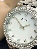 Bulova Women's Watch 96X144 Swarovski Crystals MOP White Dial Silver Tone Quartz