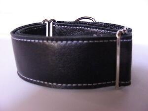 "1.5"" BLACK LEATHER GREYHOUND MARTINGALE DOG COLLAR"