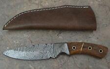 Custom Made Damascus Steel Hunting Knife with Walnut Wood Handle (SK 68)