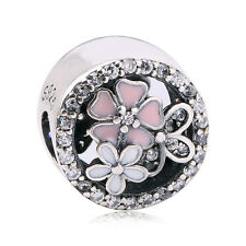 Charm Bead Crystal Silver Pink & White Round 925 fits known - UK SELLER FREE P&P