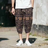 Mens Summer Capri Cropped Trousers Loose Baggy Boho Casual Hippie Harem Pants