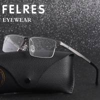 Men Aluminum Half Frame Square Optical Glasses Clear Lens Myopia Glasses Frame