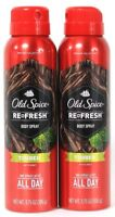 2 Old Spice Re Fresh Body Spray Timber With Mint One Spray All Day 3.75 oz