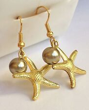 Gold Plated Pearl Starfish Earrings Pierced Sea Life Beach Island Dangle USA